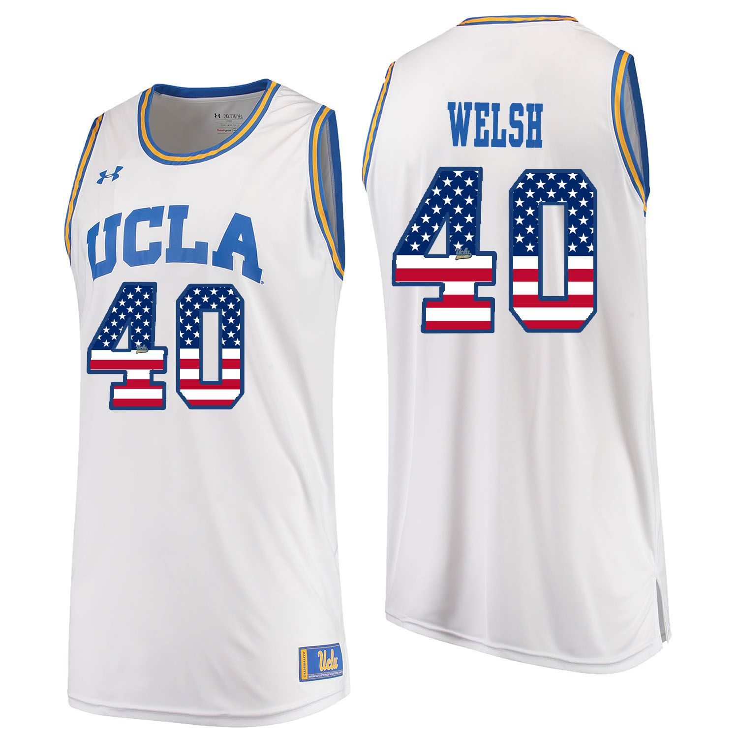 Men UCLA UA 40 Welsh White Flag Customized NCAA Jerseys