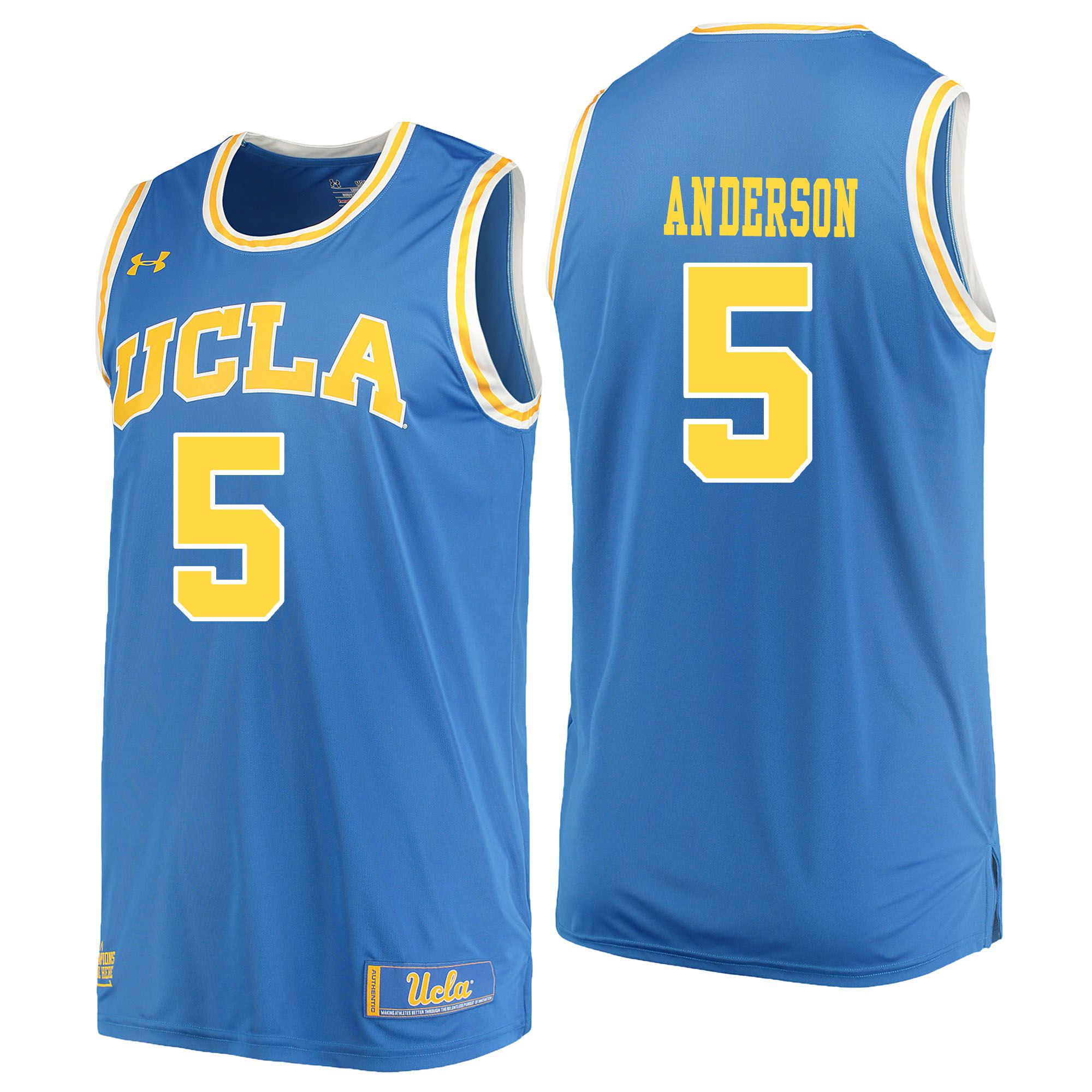 Men UCLA UA 5 Anderson Light Blue Customized NCAA Jerseys