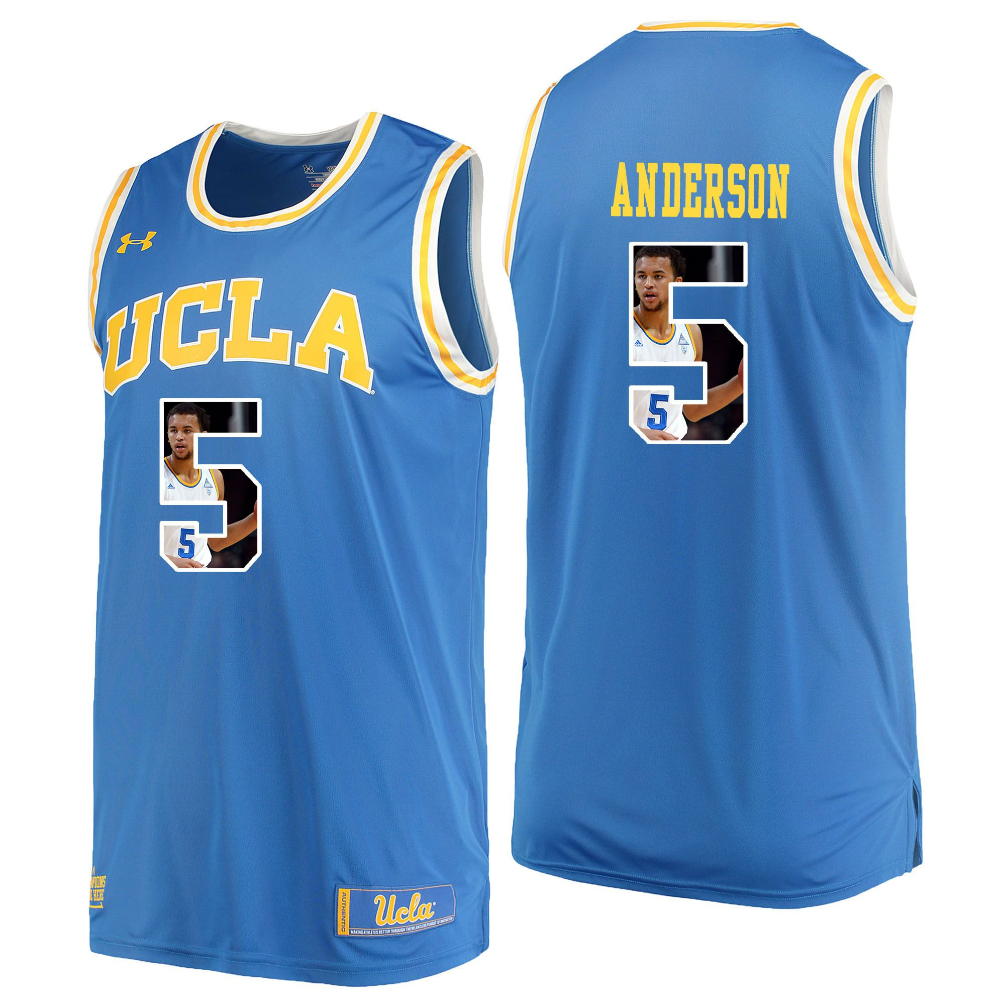 Men UCLA UA 5 Anderson Light Blue Fashion Edition Customized NCAA Jerseys