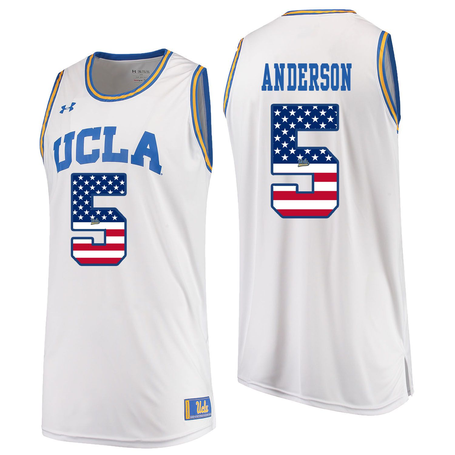 Men UCLA UA 5 Anderson White Flag Customized NCAA Jerseys