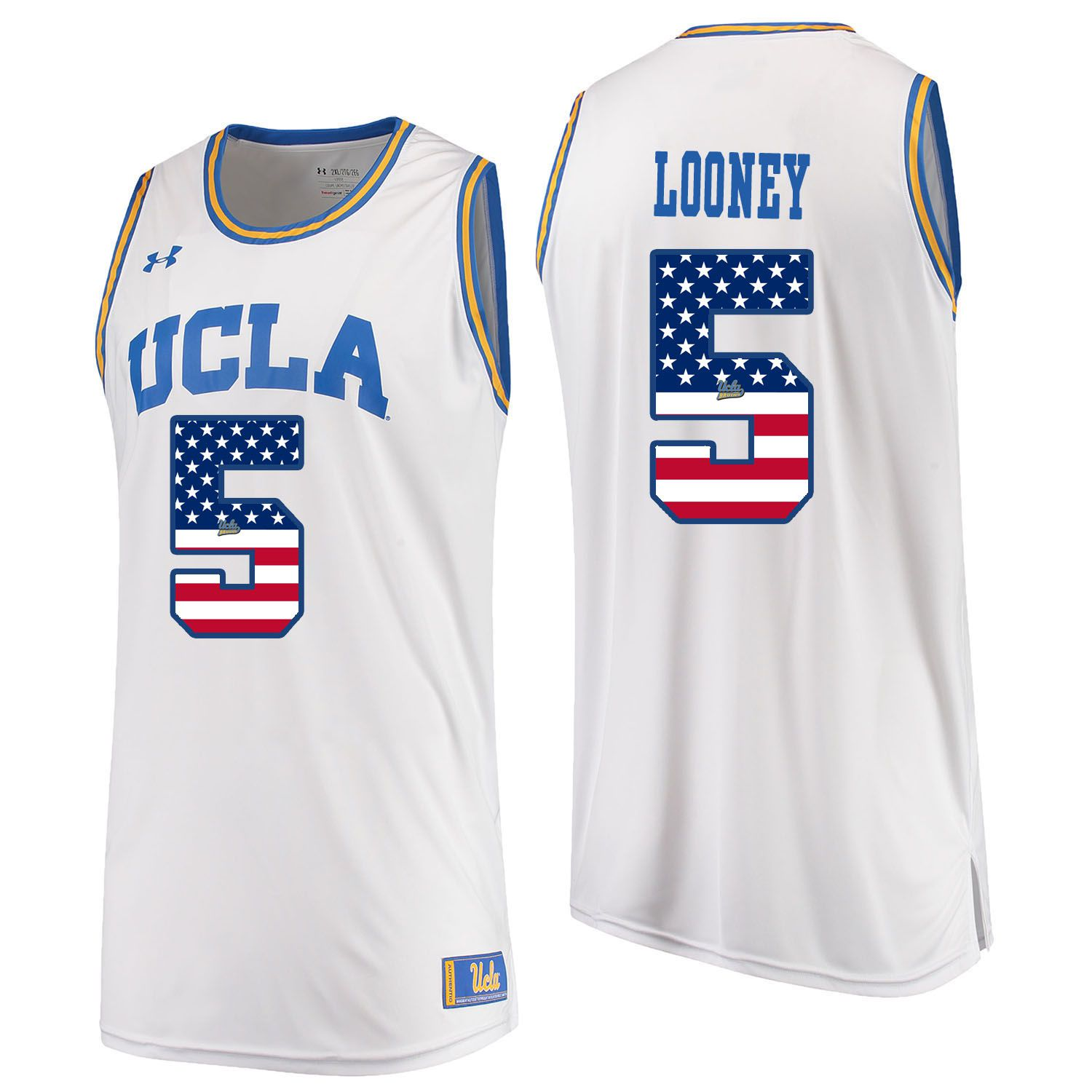 Men UCLA UA 5 Looney White Flag Customized NCAA Jerseys