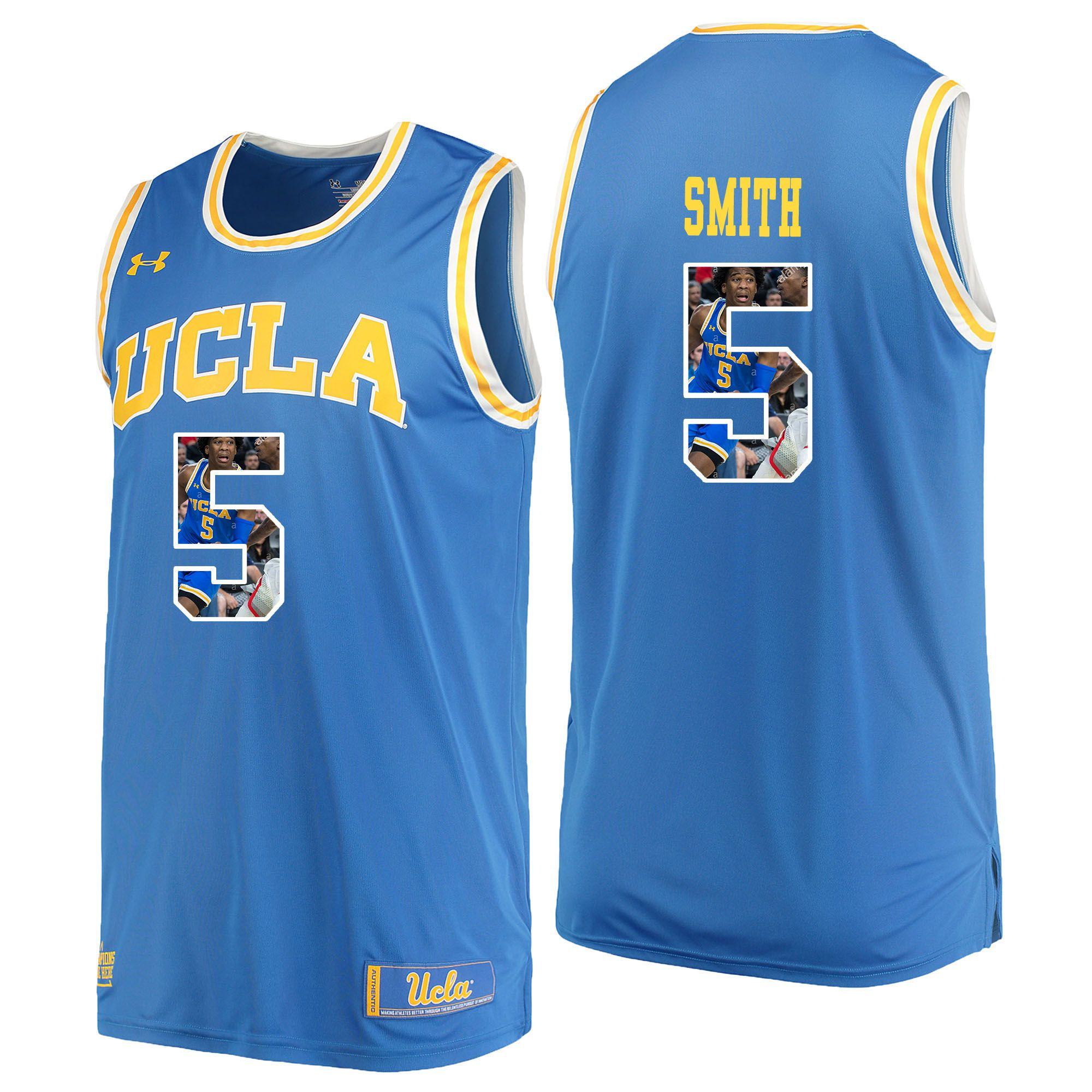 Men UCLA UA 5 Smith Light Blue Fashion Edition Customized NCAA Jerseys