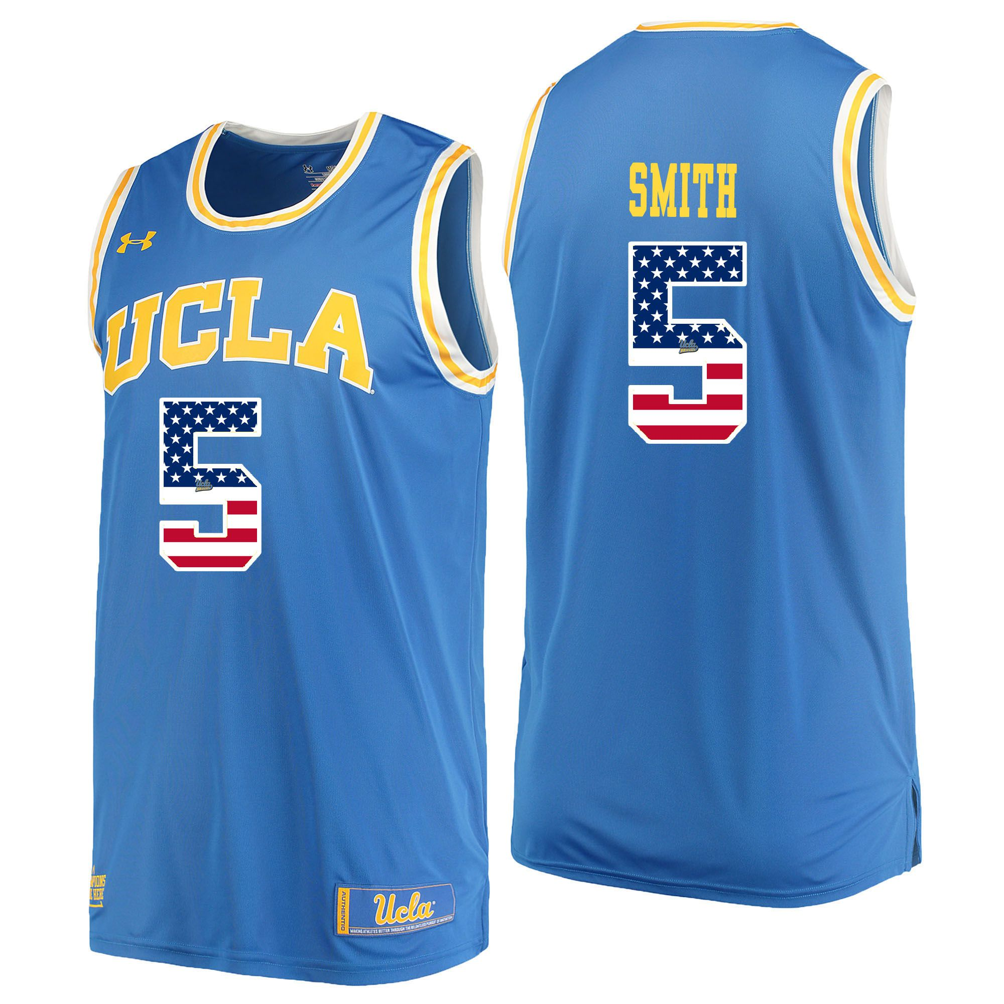 Men UCLA UA 5 Smith Light Blue Flag Customized NCAA Jerseys