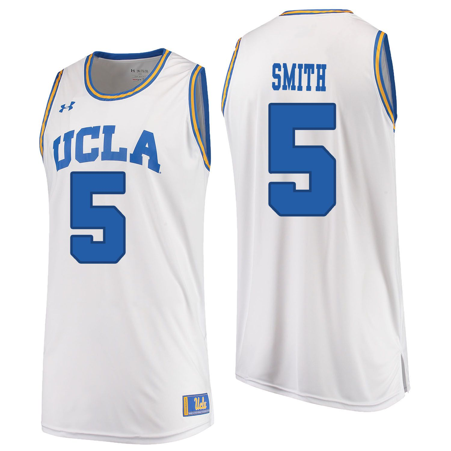 Men UCLA UA 5 Smith White Customized NCAA Jerseys