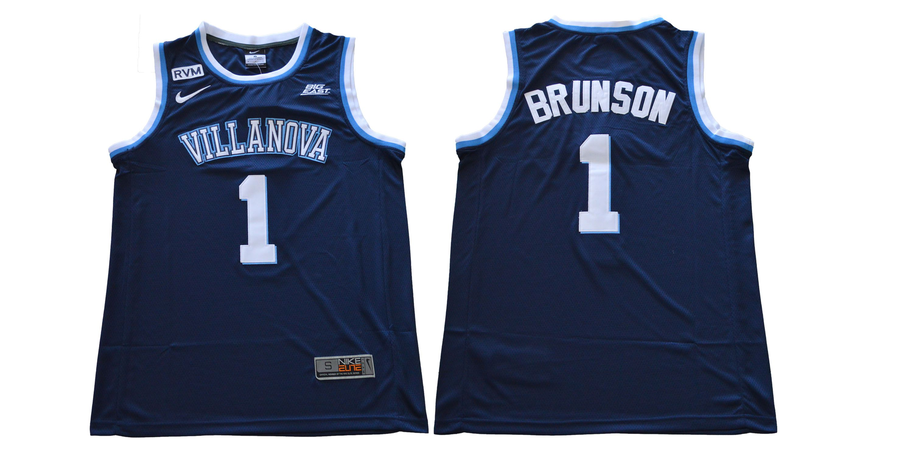 Men Villanova 1 Brunson Blue Nike NCAA Jerseys