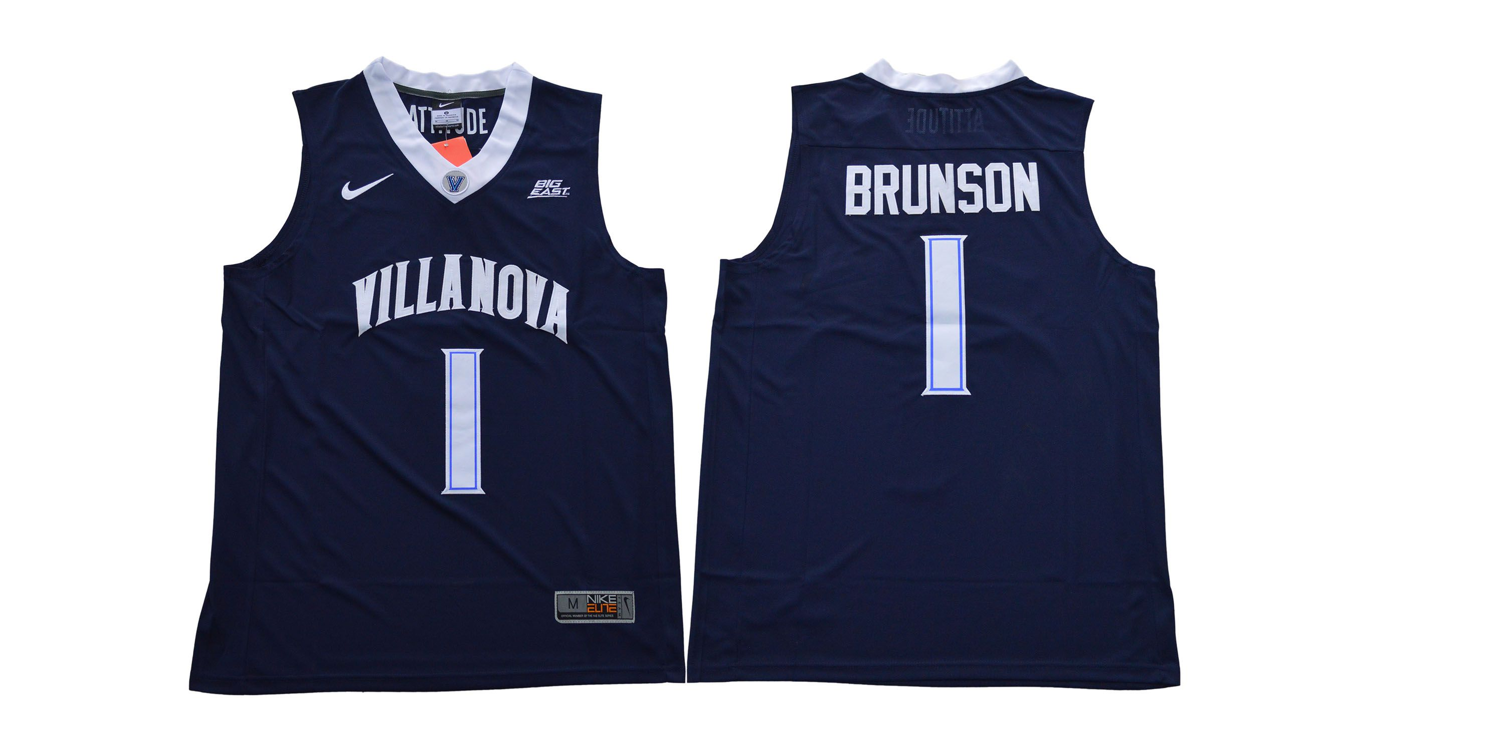 Men Villanova 1 Brunson Blue Nike NCAA Jerseys1