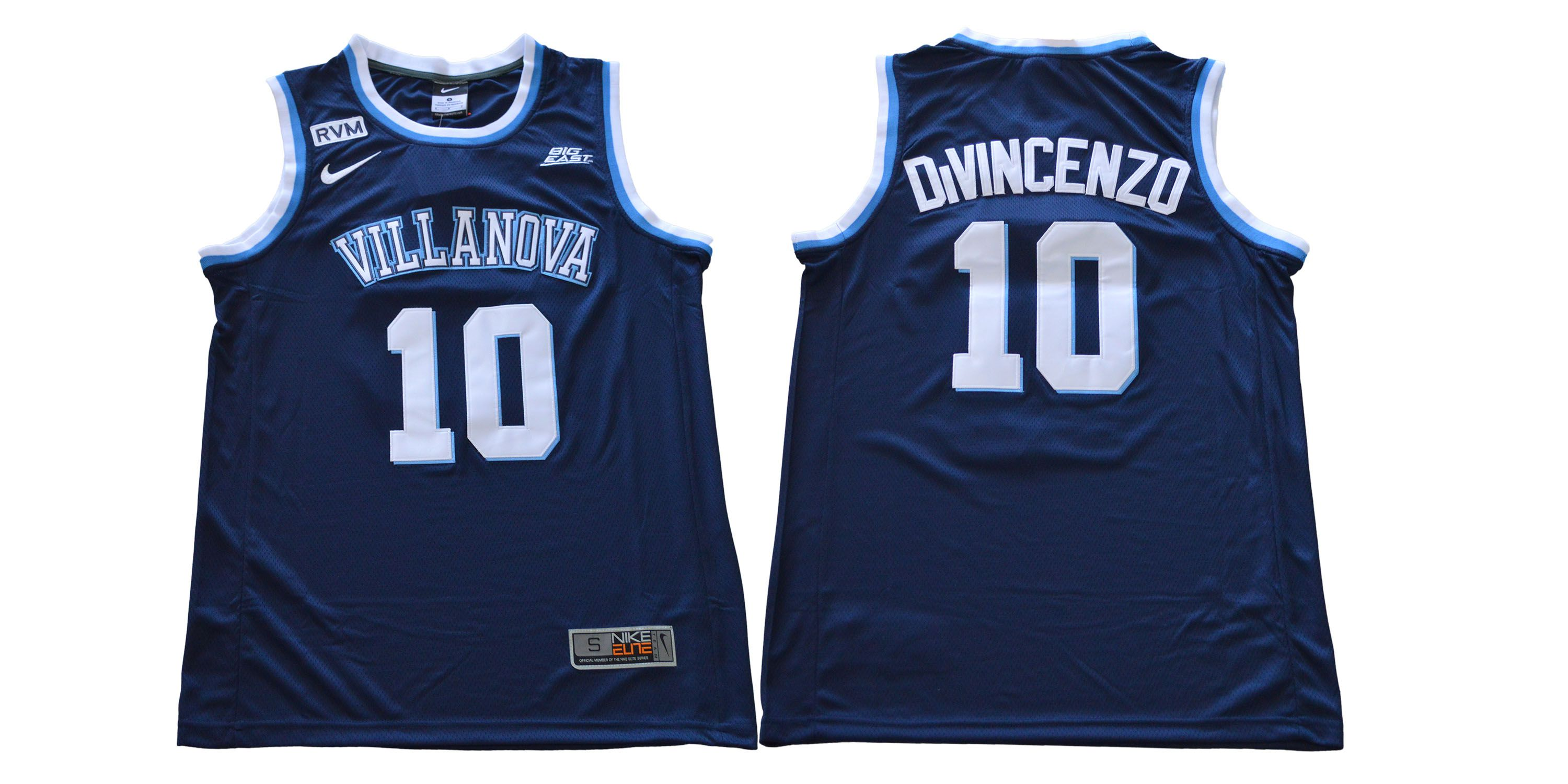 Men Villanova 10 Divincenzo Blue Nike NCAA Jerseys