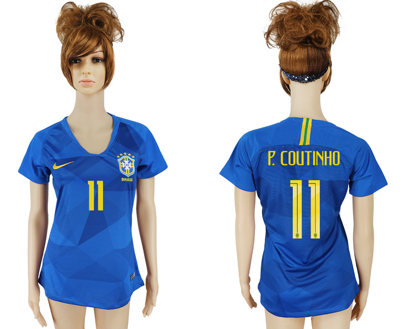Women 2018 World Cup Brazil away aaa 11 blue soccer jersey