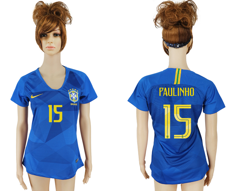 Women 2018 World Cup Brazil away aaa 15 blue soccer jersey