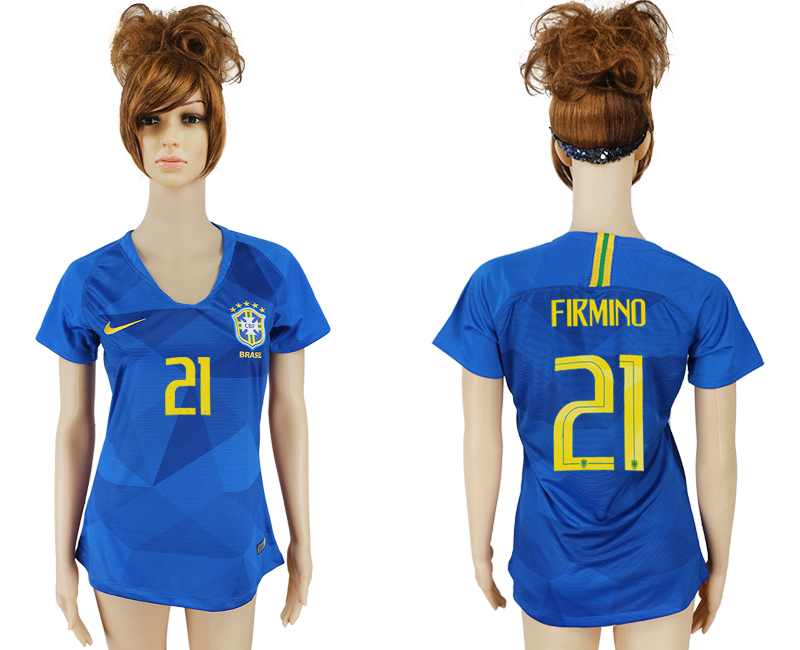 Women 2018 World Cup Brazil away aaa 21 blue soccer jersey