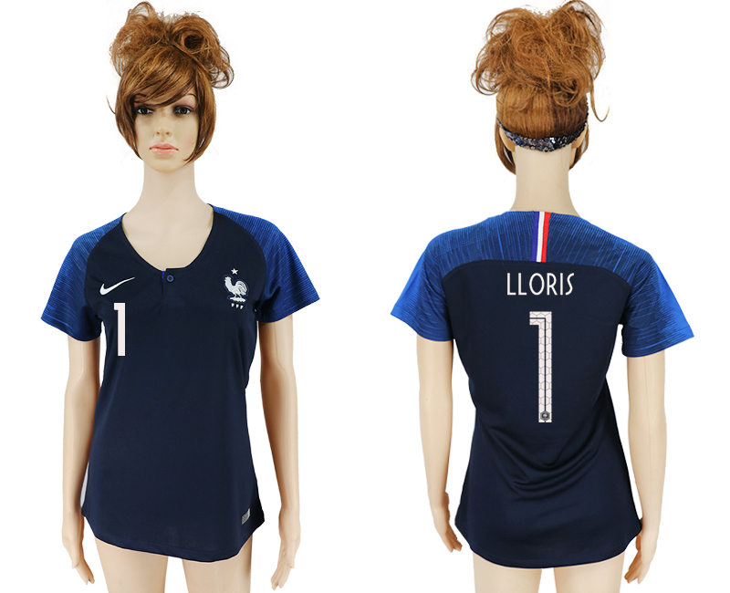 Women 2018 World Cup French home aaa version 1 blue soccer jersey