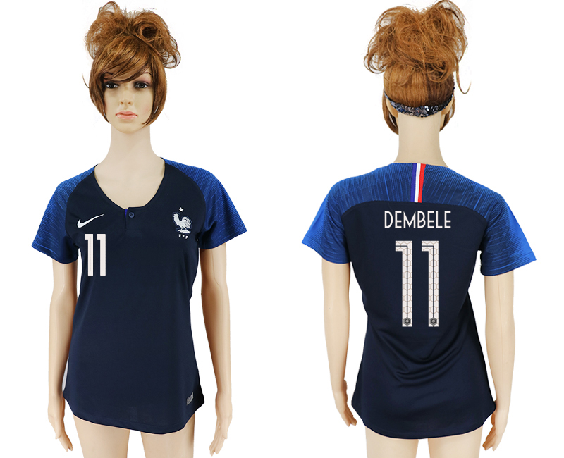 Women 2018 World Cup French home aaa version 11 blue soccer jersey