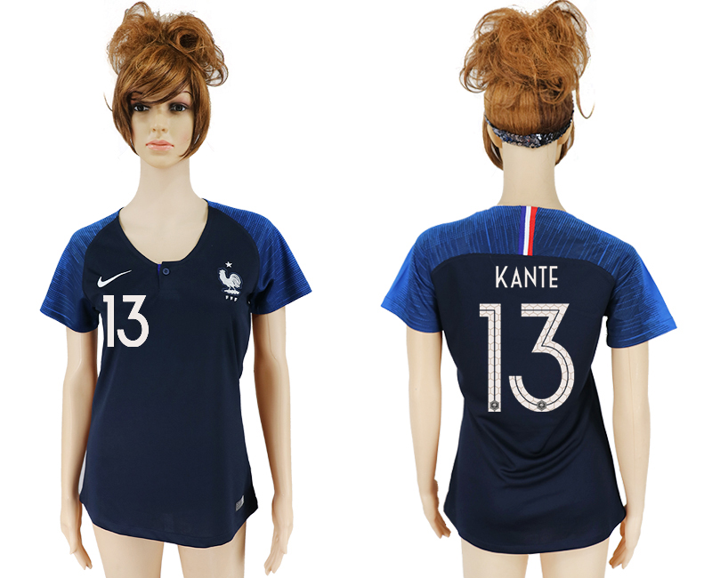 Women 2018 World Cup French home aaa version 13 blue soccer jersey