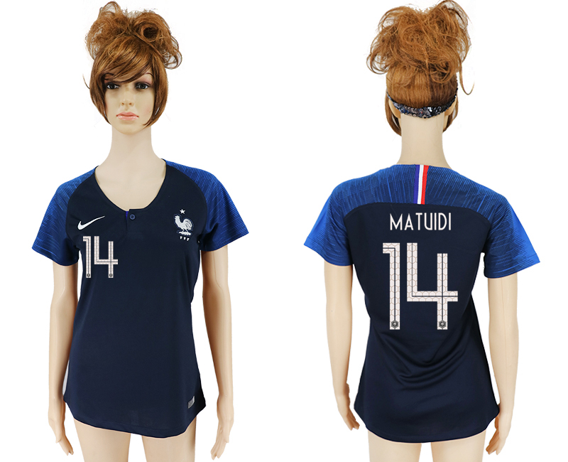 Women 2018 World Cup French home aaa version 14 blue soccer jersey