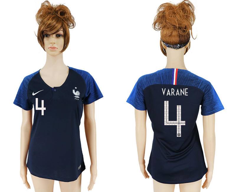 Women 2018 World Cup French home aaa version 4 blue soccer jersey