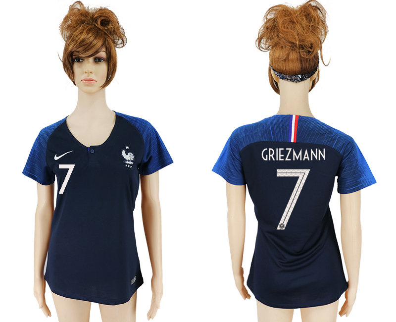 Women 2018 World Cup French home aaa version 7 blue soccer jersey