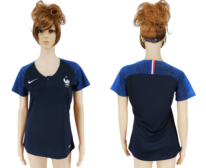Women 2018 World Cup French home aaa version blue soccer jersey