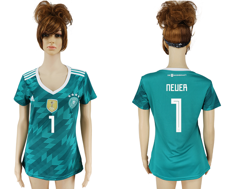 Women 2018 World Cup Germany away aaa version 1 green soccer jersey