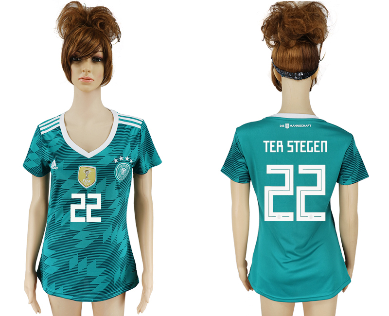 Women 2018 World Cup Germany away aaa version 22 green soccer jersey