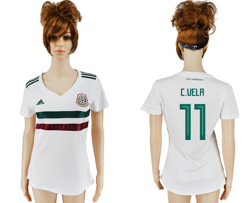 Women 2018 World Cup Mexico away aaa version 11 white soccer jersey