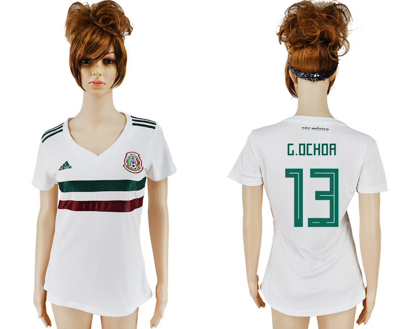 Women 2018 World Cup Mexico away aaa version 13 white soccer jersey