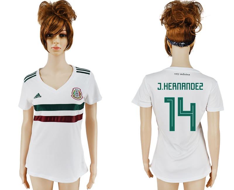 Women 2018 World Cup Mexico away aaa version 14 white soccer jersey