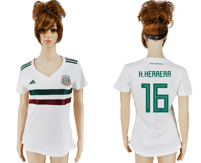 Women 2018 World Cup Mexico away aaa version 16 white soccer jersey