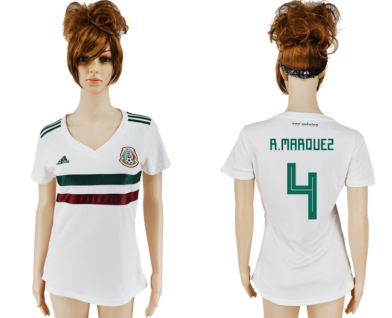 Women 2018 World Cup Mexico away aaa version 4 white soccer jersey