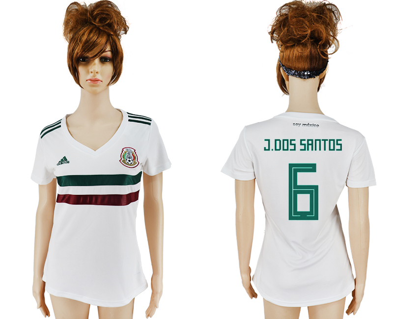 Women 2018 World Cup Mexico away aaa version 6 white soccer jersey