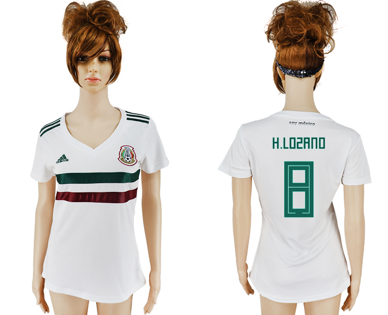 Women 2018 World Cup Mexico away aaa version 8 white soccer jersey