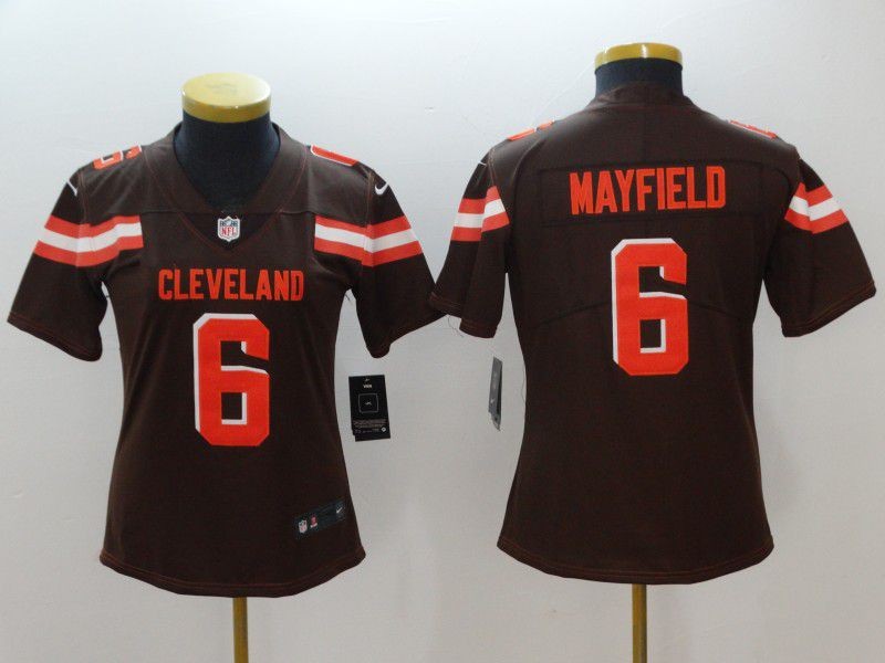 Women Cleveland Browns 6 Mayfield Brown Nike Vapor Untouchable Limited NFL Jerseys