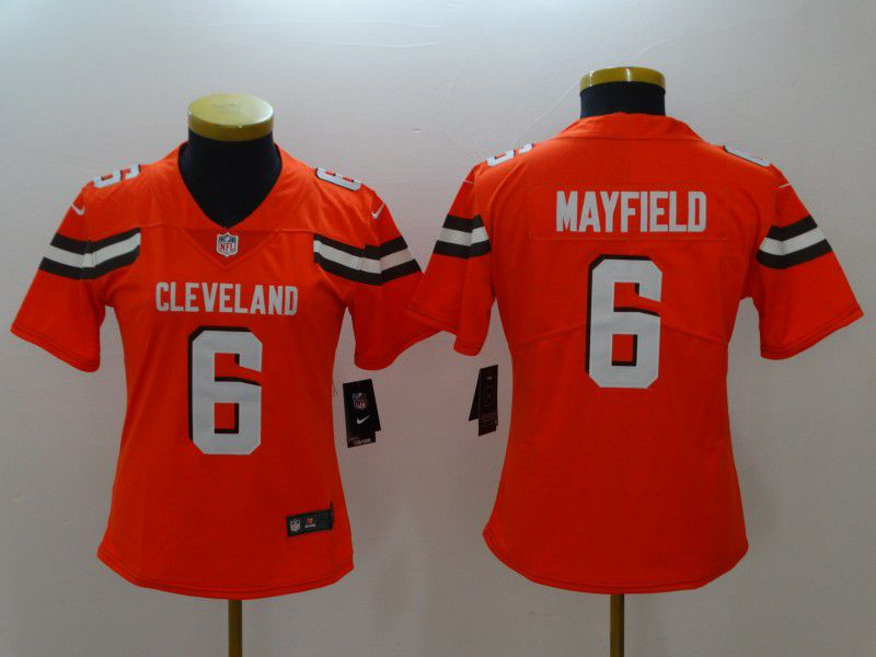 Women Cleveland Browns 6 Mayfield Orange Nike Vapor Untouchable Limited NFL Jerseys