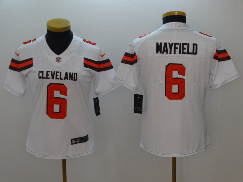 Women Cleveland Browns 6 Mayfield White Nike Vapor Untouchable Playe NFL Jerseys