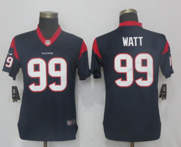 Women Houston Texans 99 Watt Navy Blue Vapor Untouchable Player Nike NFL Jerseys