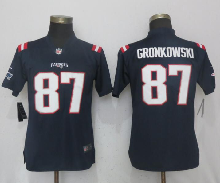 Women New England Patriots 87 Gronkowski Navy Blue Color Rush Nike NFL Jerseys