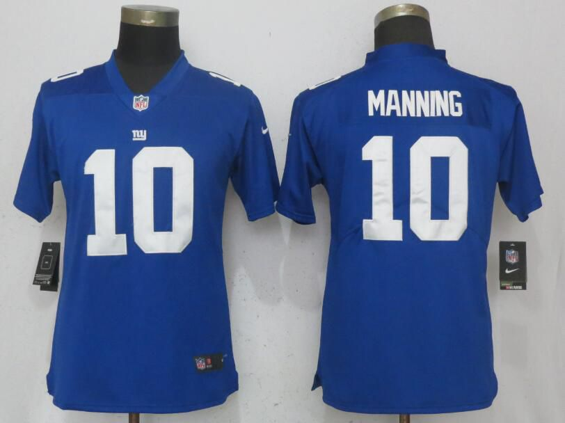 Women New York Giants 10 Manning Blue Nike Vapor Untouchable Limited NFL Jerseys