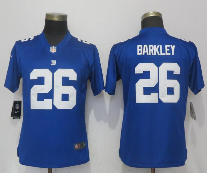 Women New York Giants 26 Barkley Blue Nike Vapor Untouchable Playe NFL Jerseys
