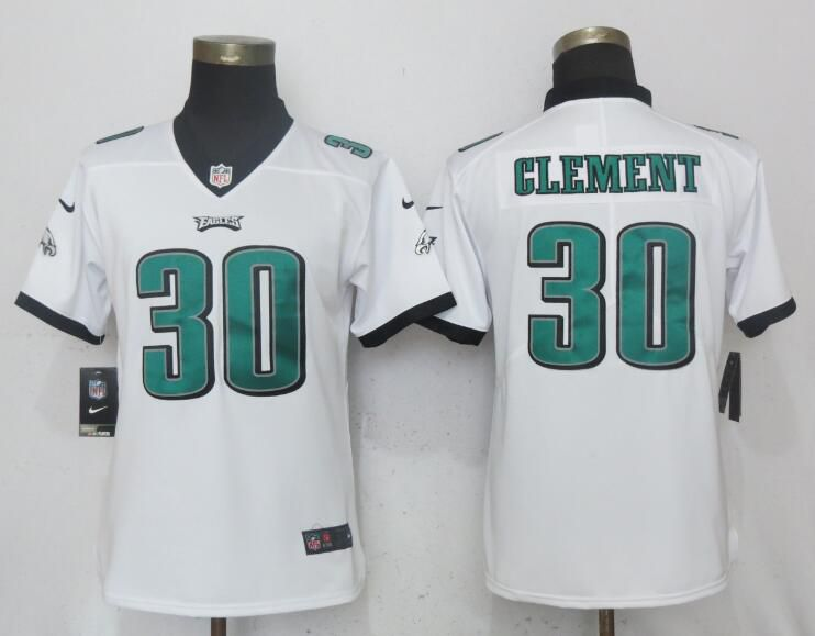 Women Philadelphia Eagles 30 Clement White Vapor Untouchable Playe Nike NFL Jerseys
