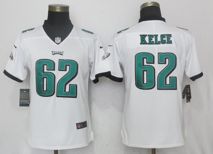 Women Philadelphia Eagles 62 Kelce White Vapor Untouchable Playe Nike NFL Jerseys