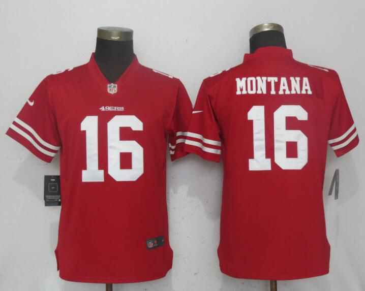 Women San Francisco 49ers 16 Montana Red Vapor Untouchable Player Nike NFL Jerseys