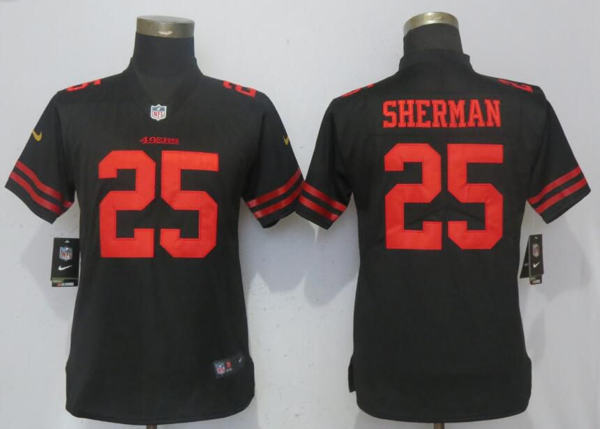 Women San Francisco 49ers 25 Sherman Black Nike Vapor Untouchable Playe NFL Jerseys