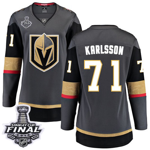 Women Vegas Golden Knights 71 Karlsson Fanatics Branded Breakaway Home gray Adidas NHL Jersey 2018 Stanley Cup Final Patch