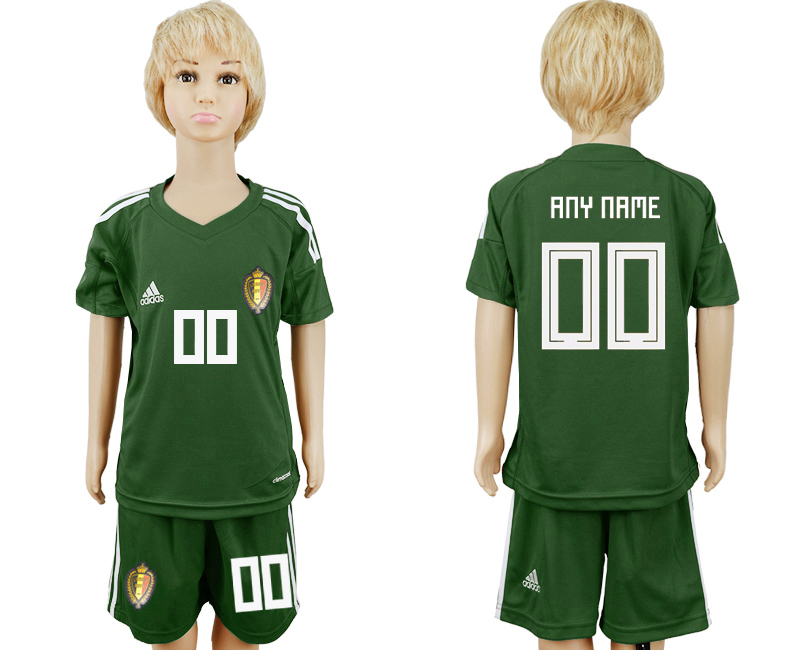 Youth 2018 World Cup Belgium army green goalkeeper customized soccer jersey