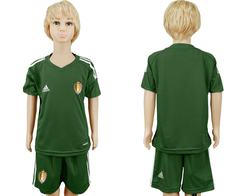 Youth 2018 World Cup Belgium army green goalkeeper soccer jersey
