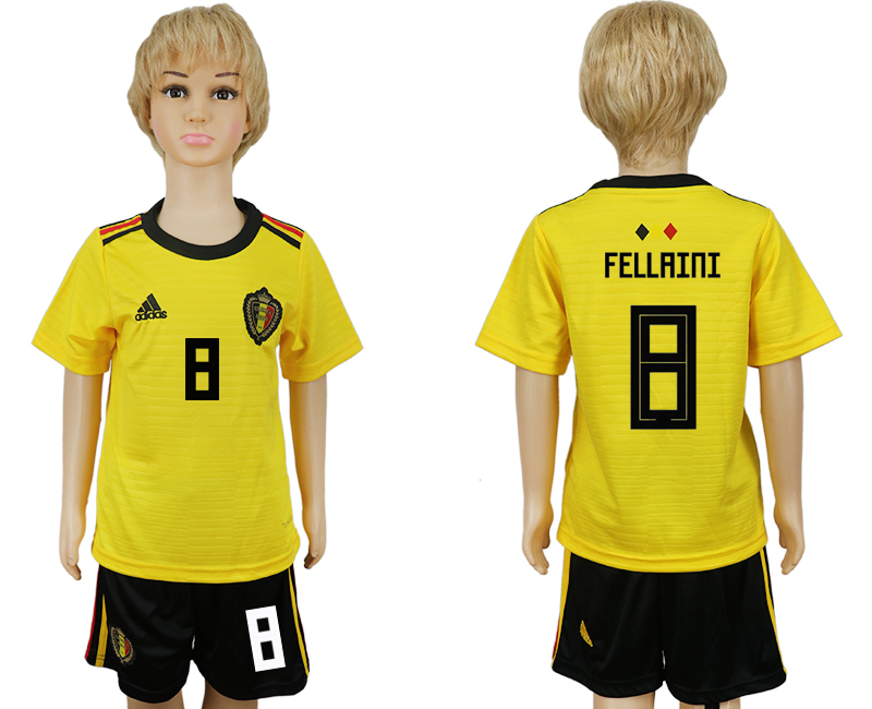 Youth 2018 World Cup Belgium away 8 yellow soccer jersey