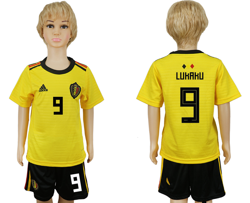 Youth 2018 World Cup Belgium away 9 yellow soccer jersey