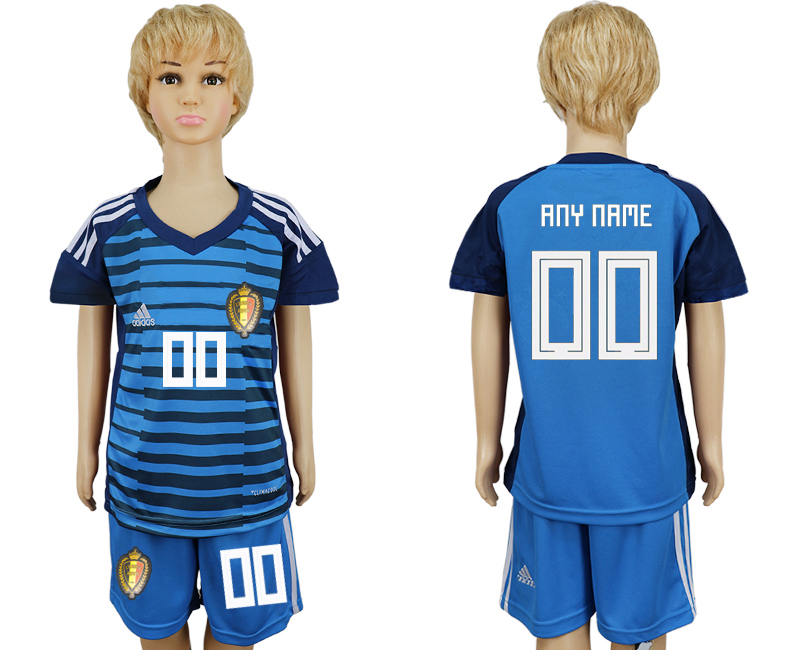 Youth 2018 World Cup Belgium goalkeeper blue customized soccer jersey