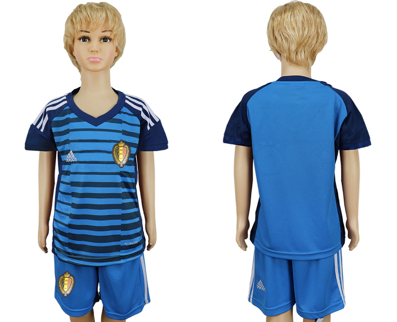 Youth 2018 World Cup Belgium goalkeeper blue soccer jersey