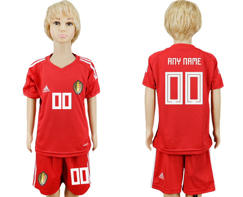 Youth 2018 World Cup Belgium red goalkeeper customized soccer jersey