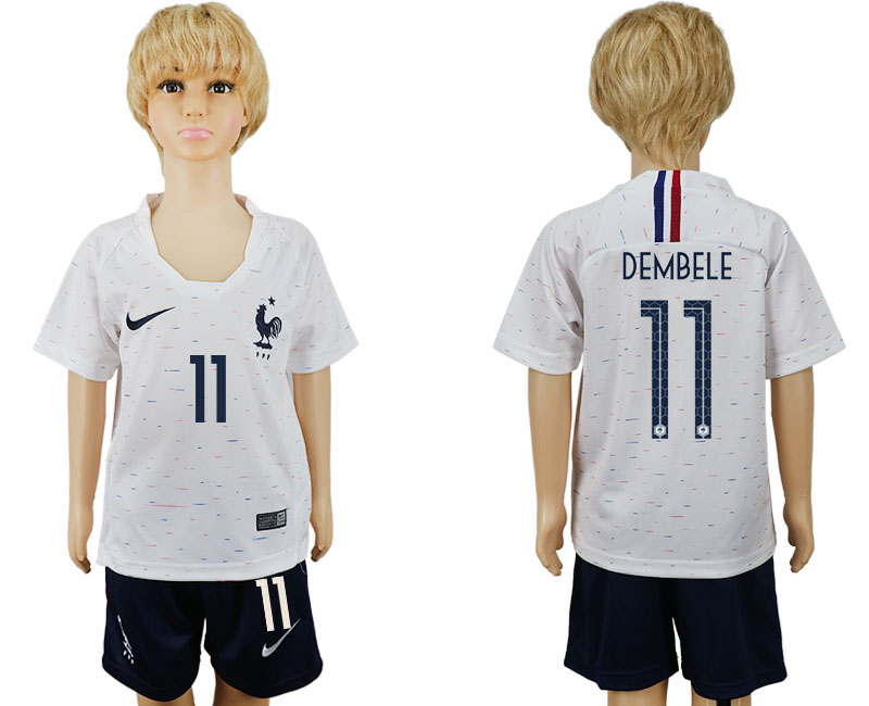 Youth 2018 World Cup France away 11 white soccer jersey